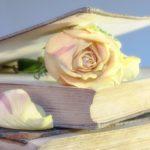 古い本とバラ