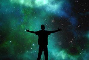 銀河とシルエット