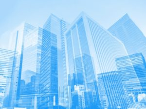 青いビジネス街